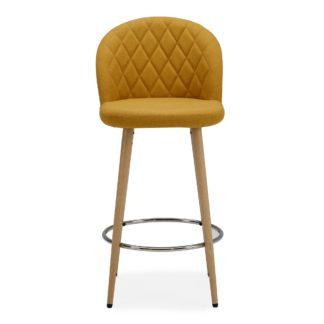 An Image of Astrid Bar Stool Yellow Fabric Yellow