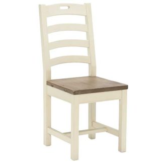 An Image of Carisbrooke Dining Chair with Square Legs and Wooden Seat Stucco Whit