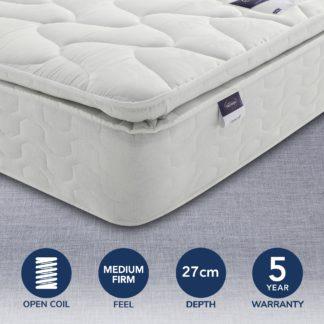 An Image of Silentnight Medium Firm Miracoil Pillowtop Mattress White