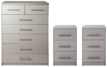 An Image of Argos Home Normandy 2 Bedsides & 5+2 Drawer Chest Set - Grey