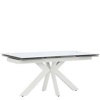 An Image of Salerno Extending Dining Table Matte Staturio and White
