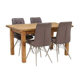 An Image of Covington Reclaimed Wood Dining Table and 4 Hix Chairs