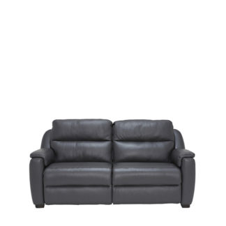 An Image of Strauss Grey Leather Recliner Loveseat