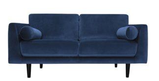 An Image of Habitat Jackson 3 Seater Velvet Sofa - Blue