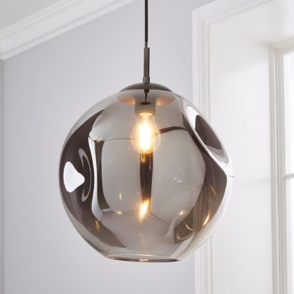 An Image of Alexis DimpIed Glass 1 Light Pendant Ceiling Fitting Smoke (Grey)