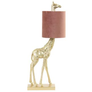 An Image of Giraffe Table Lamp Gold and Blush Pink