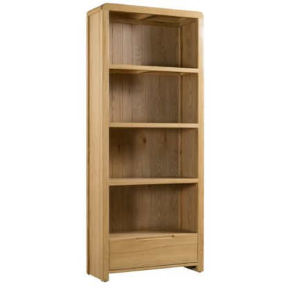 An Image of Curve Oak Tall Bookcase Brown