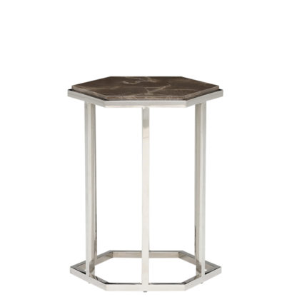 An Image of Zion Hexagonal Marble Accent Table Amani Dark