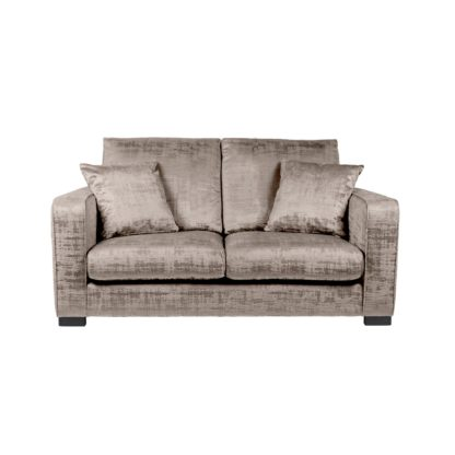 An Image of Carson Distressed Velvet 2 Seater Sofa Grey