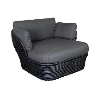 An Image of Cane Line Basket Garden Lounge Chair in Graphite with Grey Fabric