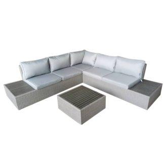 An Image of Rattan and Polywood 5 Seater Grey Corner Lounger Set Light Grey