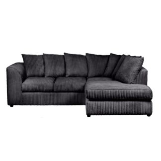 An Image of Blake Jumbo Cord Right Hand Corner Sofa Black