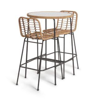 An Image of Habitat 2 Seater Bamboo Bar Bistro Set