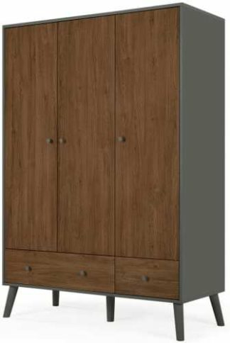 An Image of Larsen Triple Wardrobe, Walnut & Grey
