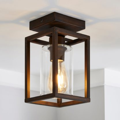 An Image of London Flush Ceiling Fitting Brown