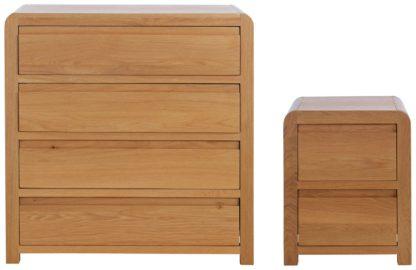 An Image of Habitat Novara Bedside & 4 Drawer Set - Oak & Oak Veneer
