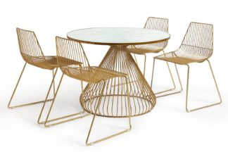 An Image of Habitat Huxley Metal Dining Table and 4 Brass Chairs