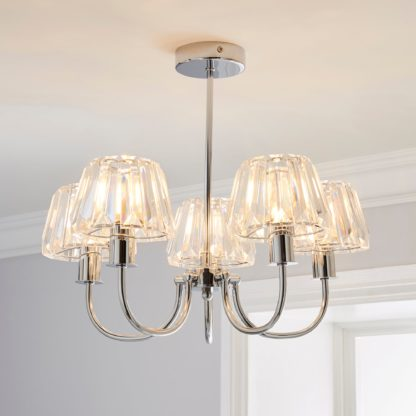 An Image of Paloma 5 Light Glass Ceiling Fitting Chrome