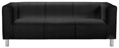 An Image of Habitat Moda 3 Seater Faux Leather Sofa - White