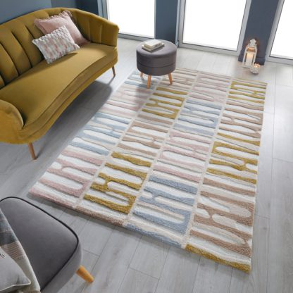 An Image of Abstract Stripe Rug Abstract Stripe Ochre Grey Blush