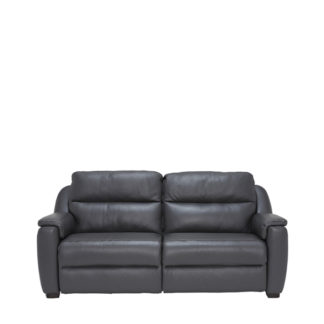 An Image of Strauss Grey Leather Recliner Sofa