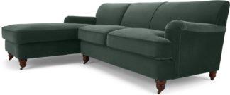 An Image of Orson Left Hand Facing Chaise End Corner Sofa, Autumn Green Velvet