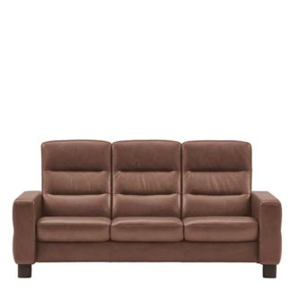 An Image of Stressless Wave High Back 3 Seater Sofa Leather