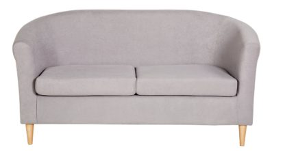 An Image of Habitat 2 Seater Fabric Tub Sofa - Light Grey