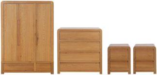 An Image of Habitat Novara 4 Piece Wardrobe Set - Oak & Oak Veneer