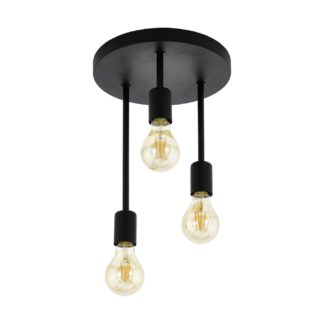 An Image of Eglo Wilmcote 3L Flush Ceiling Light - Black