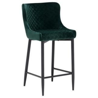 An Image of Rivington Fabric Counter Stool Dark Green
