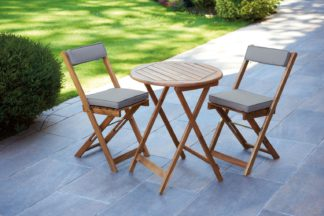 An Image of Greenhurst Hardwood Bistro Set with Natural Cushions