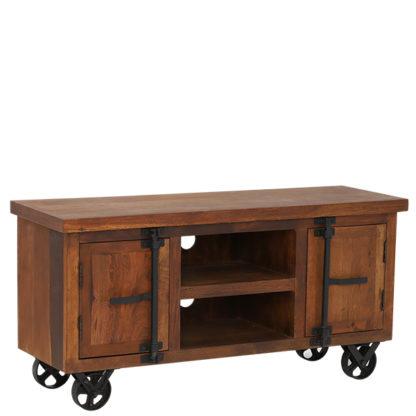 An Image of Little Tree Furniture Hyatt Reclaimed Wood TV Unit on Wheels Dark Fin