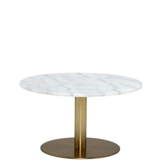 An Image of Apollo Coffee Table In White Marble & Brushed Brass Metal Base