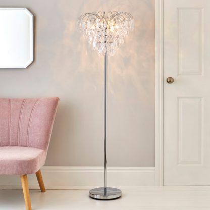 An Image of Parla Chrome Floor Lamp Chrome