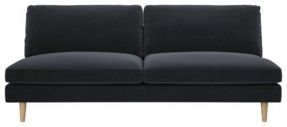 An Image of Habitat Teo 3 Seater Velvet Sofa - Charcoal