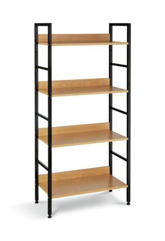 An Image of Habitat 4 Tier Metal & Oak Effect Shelf Unit