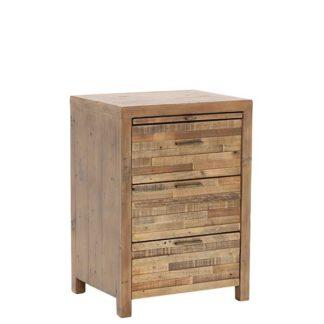 An Image of Charlie Reclaimed Wood 3 Drawer Bedside