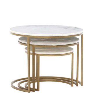 An Image of Gower Marble Set Of Tables Gold