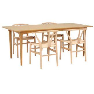 An Image of Hague 200cm Dining Table with 4 Hans Wishbone Dining Chairs Natural