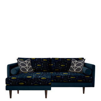 An Image of Orla Kiely Mimosa Large Chaise Sofa Patterned Velvet