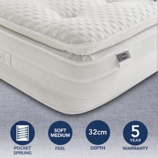 An Image of Silentnight Soft Medium 2000 Pocket Geltex Pillowtop Mattress White