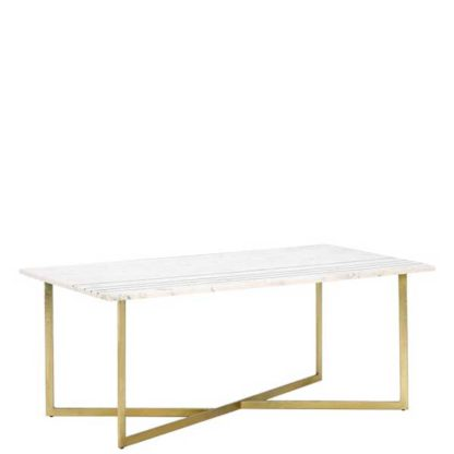 An Image of Lillian Coffee Table White Marble With Brass Leg