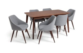 An Image of Habitat Skandi Walnut Veneer Dining Table & 6 Grey Chairs