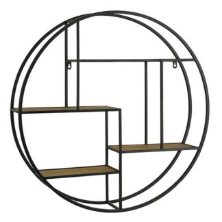 An Image of Round Industrial Wall Shelf Wood and Metal