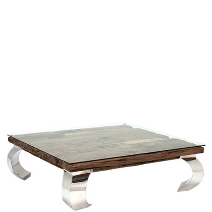 An Image of Caspian Terni Small Square Reclaimed Wood Coffee Table with Glass top
