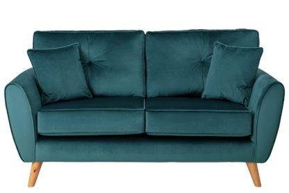 An Image of Habitat Isla 2 Seater Velvet Sofa - Teal