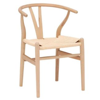 An Image of Hans Wishbone Dining Chair Natural