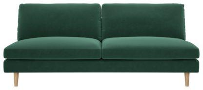 An Image of Habitat Teo 3 Seater Velvet Sofa - Green