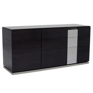 An Image of Carvelle 3 Door Buffet Cabinet Dark Velvet Birch